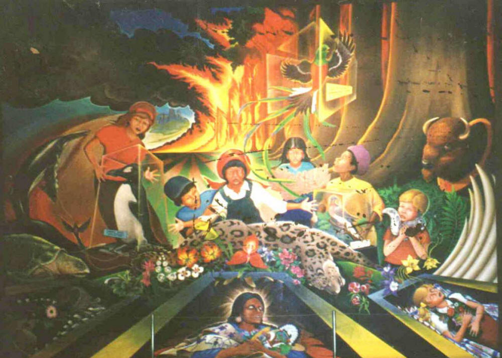 Apocalypse, extinction, dead women in coffins in the murals at the Denver New World Airport DIA