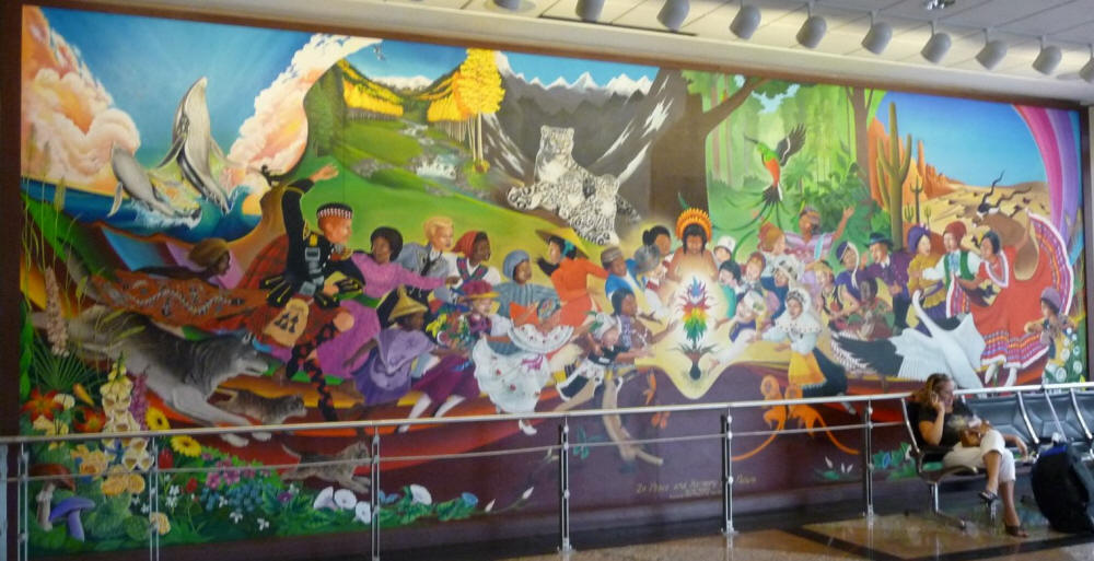 The strange murals at the denver new world airport devil for Denver international airport mural